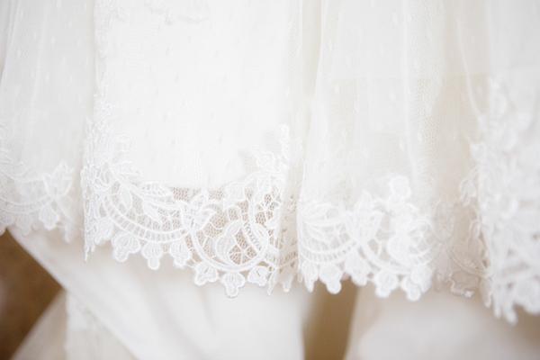 Detail on hem of wedding dress