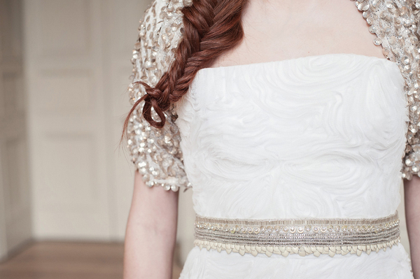 Belt on bride's dress