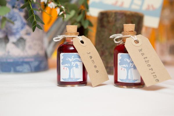 Sloe gin wedding favours