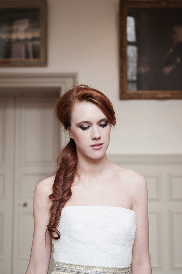 bride with fishtail braid