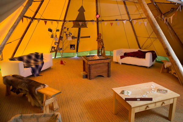 Lounge area in tipi