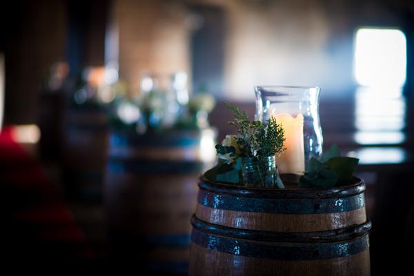 Candles on barrels