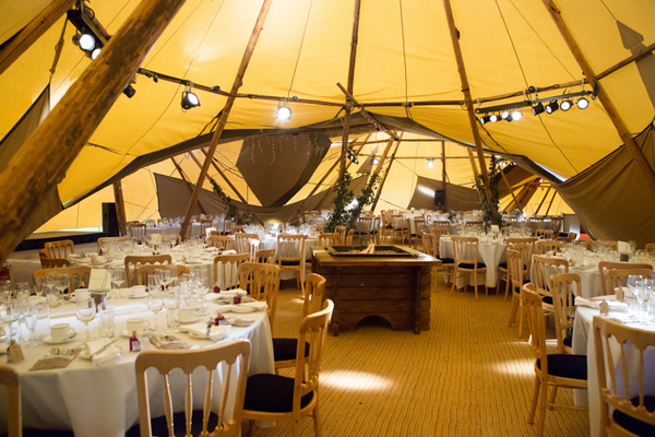 Wedding tables in tipi
