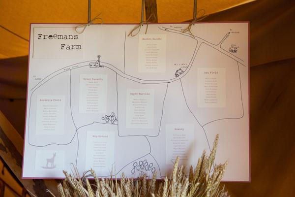 Farm wedding table plan