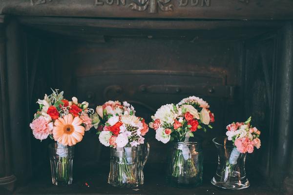 Wedding bouquets in vases