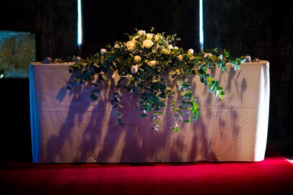 Large floral wreath on altar