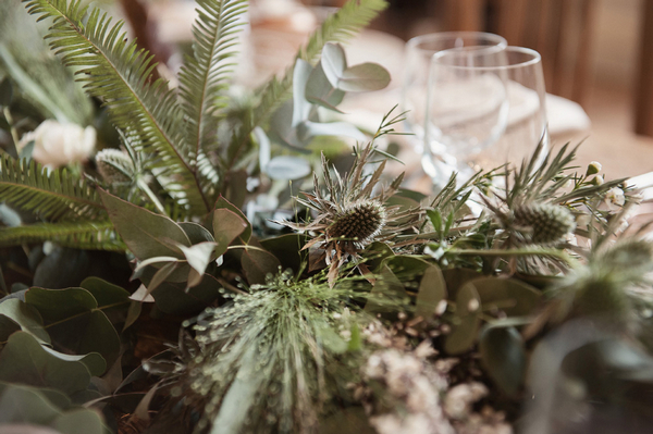 Thistles in table centrepiece
