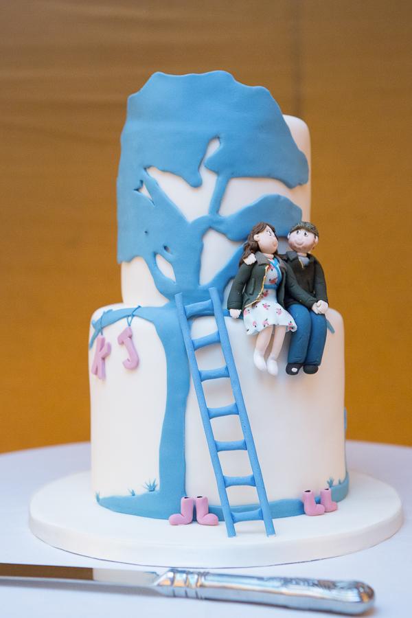 Blue tree wedding cake