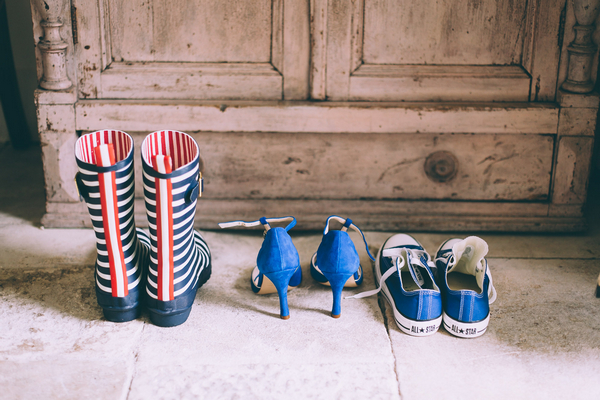 Wellies, wedding shoes, and trainers