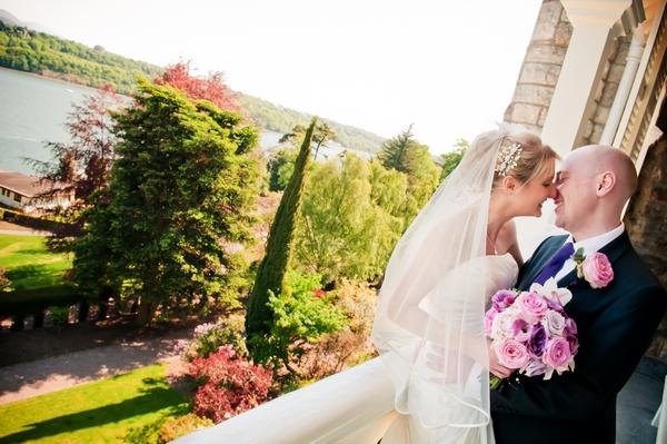 Bride and Groom at Chateau Rhianfa