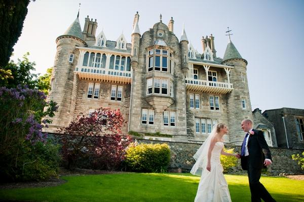 Bride and Groom outside Chateau Rhianfa