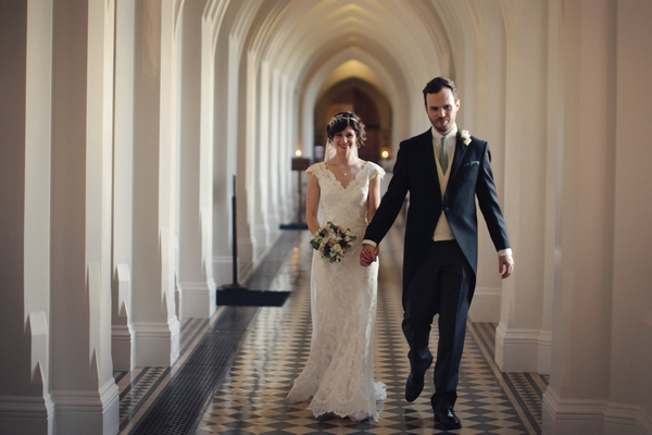 Bride and groom at Stanbrook Abbey
