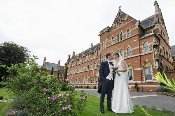Couple outside Stanbrook Abbey