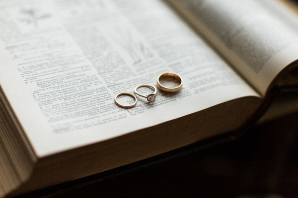 Wedding rings on pages of book
