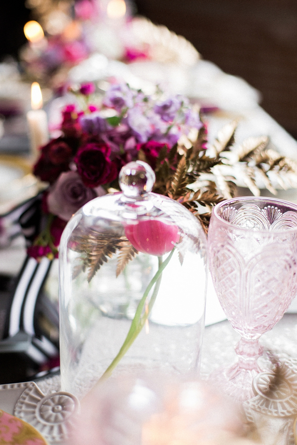 Flower in glass container on wedding table