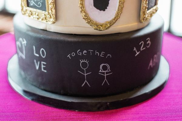 Detail on school themed wedding cake