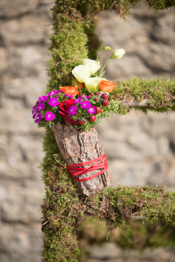 Wedding flowers on moss ladder