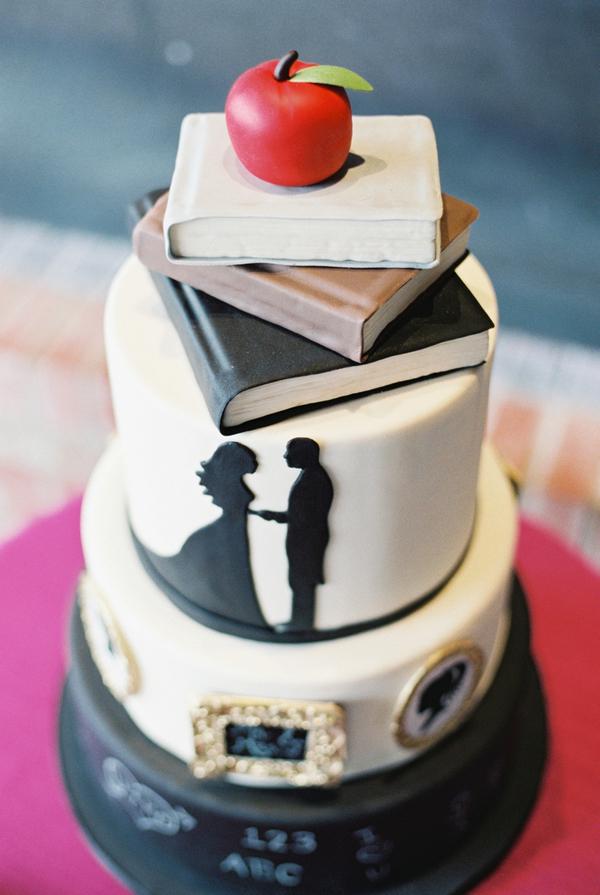 School themed wedding cake