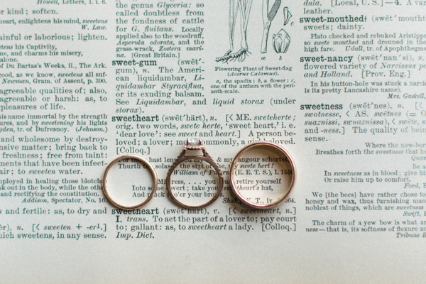 Wedding rings on word sweetheart in dictionary