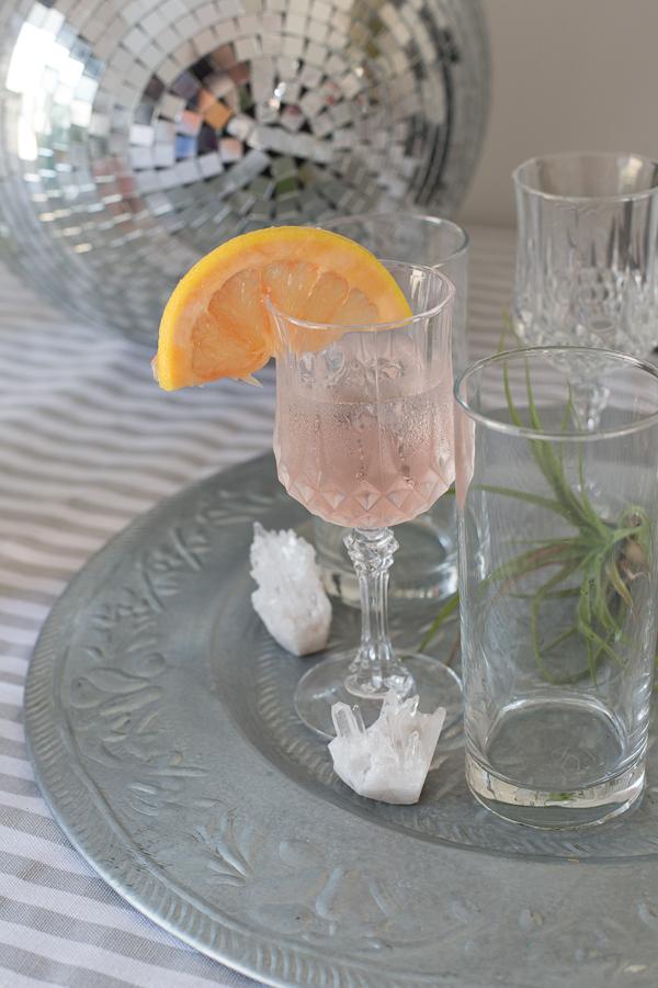 Glass of rose lemonade