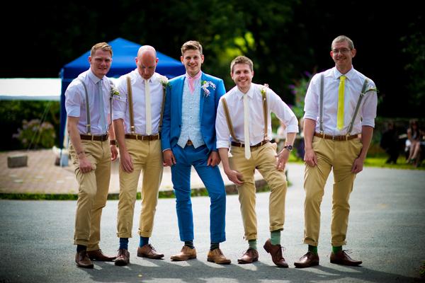Groomsmen showing socks