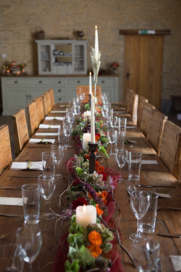 Wedding flowers down middle of table