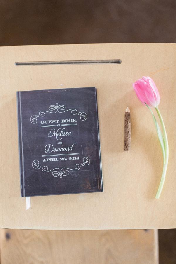 School themed wedding guest book