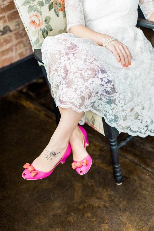 Bride with pink shoes