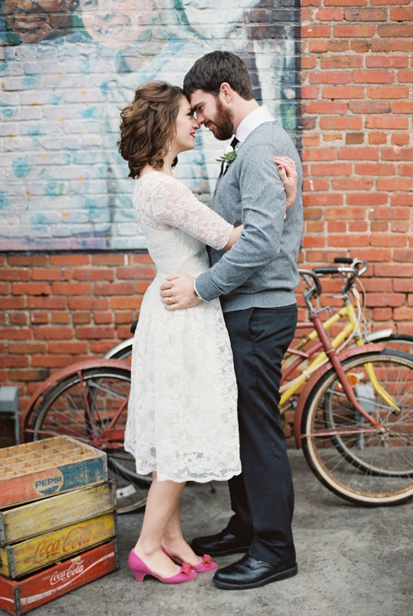 Couple in front of bicycle