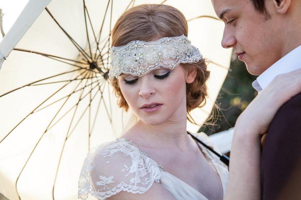 Bride with lace bridal headband