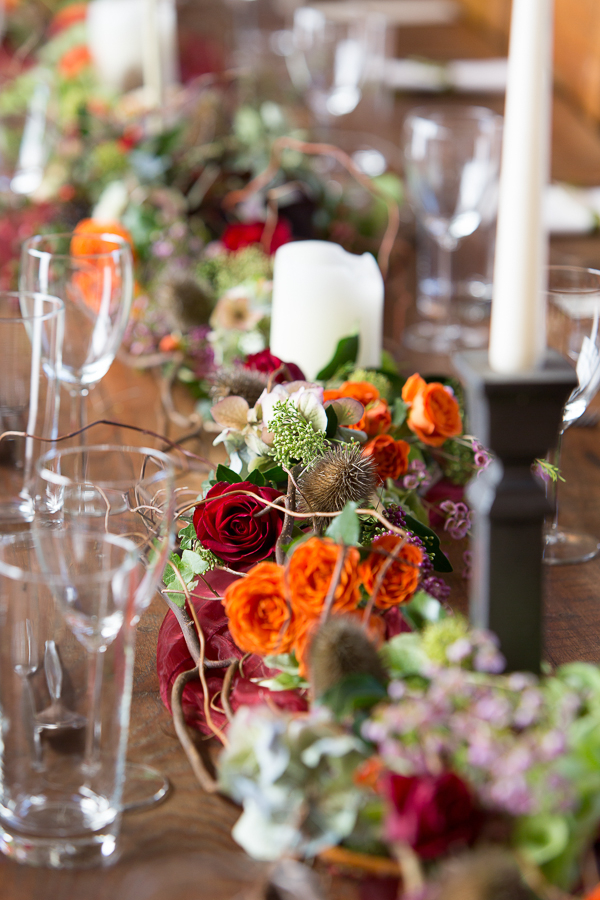 Flowers in middle of wedding table