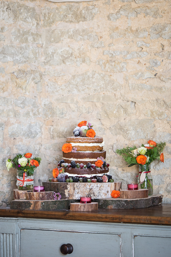 Wedding cake on wooden boards