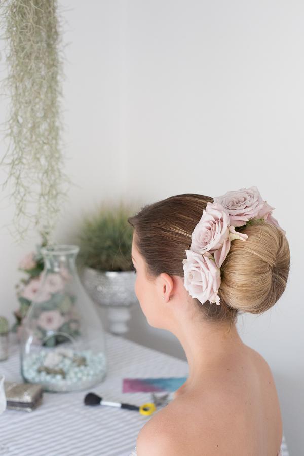 Bridal ballerina bun with flowers