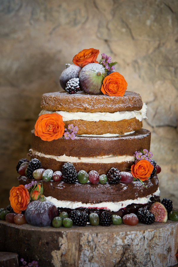 Sponge wedding cake decorated with flowers