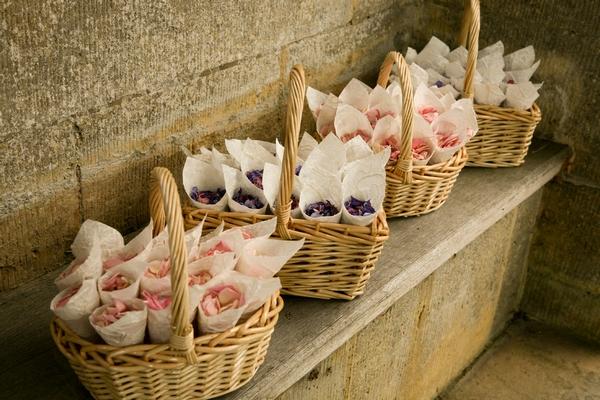 Delphinium Confetti Baskets from The Real Flower Petal Confetti Company