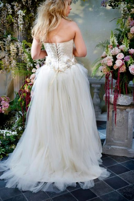 Back of Lovely Lizzie Wedding Dress with Cinderella Skirt - Terry Fox Siren Song 2015 Bridal Collection