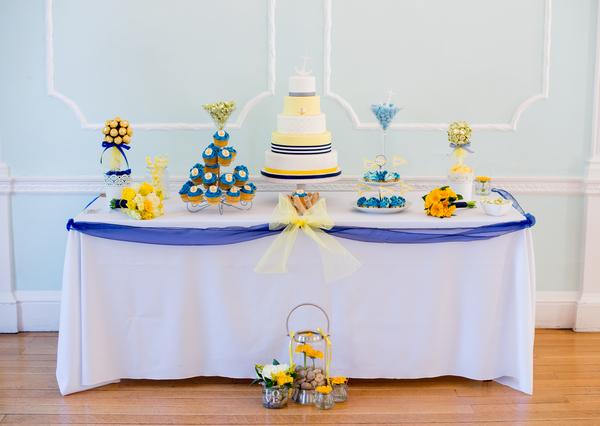 Nautical themed wedding cake table