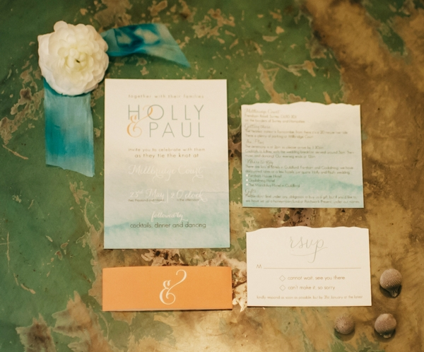 Aqua styled wedding stationery