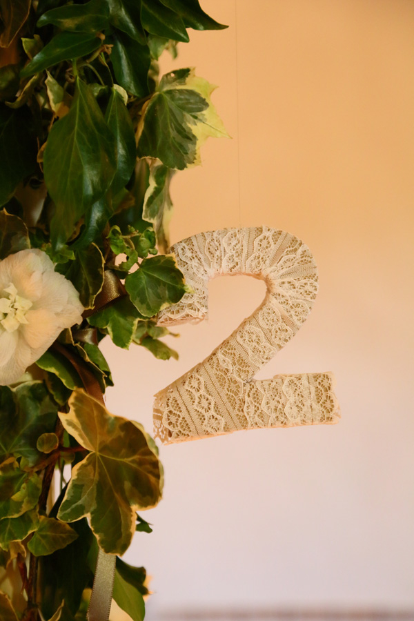Number two wedding table number