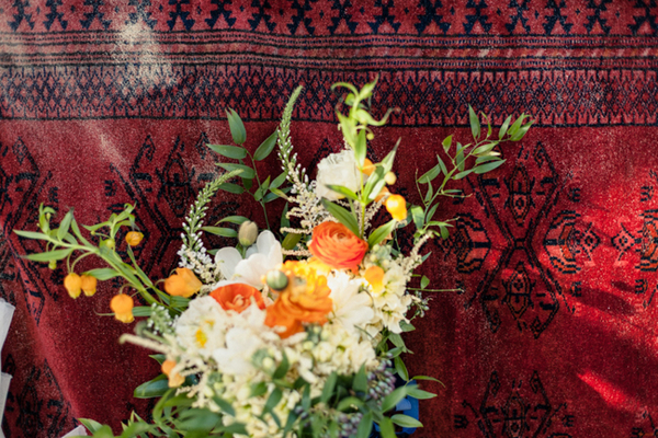 Flowers on Moroccan carpet