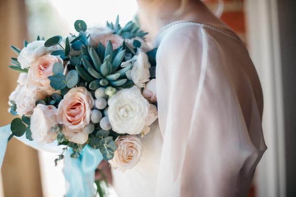 Sleeve of bride's dress