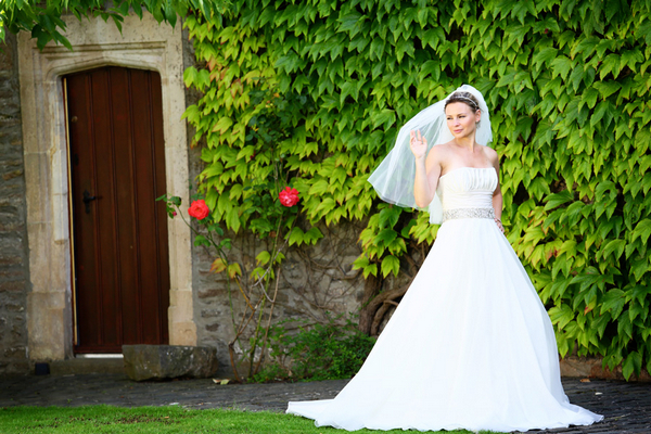 Bride in grounds of Walton Castle