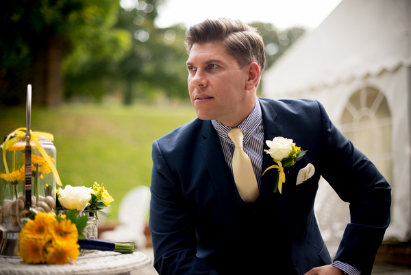 Groom sitting on chair