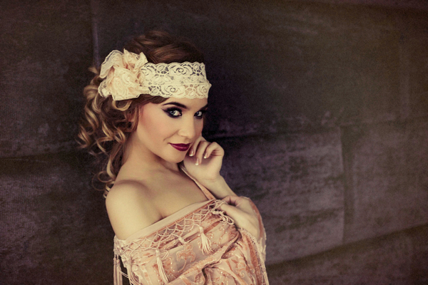 Woman with headband - Bridal boudoir shoot