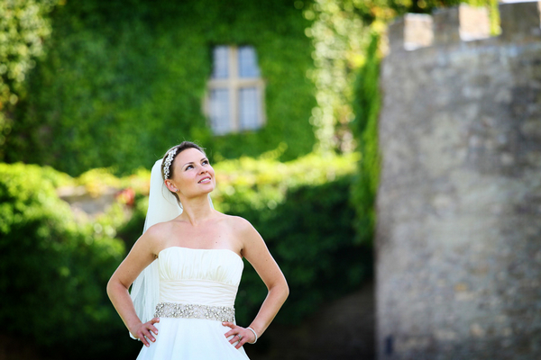 Bride with hands on hips looking up