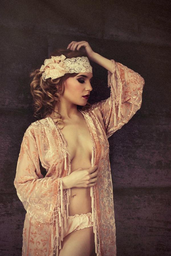 Woman wearing nightgown and headband - Bridal boudoir shoot