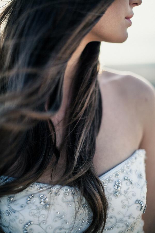 Bride's long brown hair