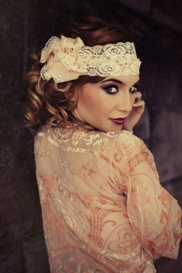 Woman wearing headband looking over shoulder - Bridal boudoir shoot
