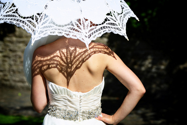 Back of bride holding parasol