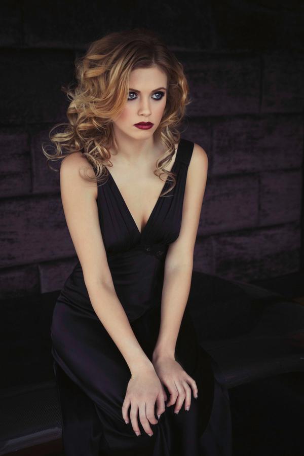 Woman in black dress - Bridal boudoir shoot